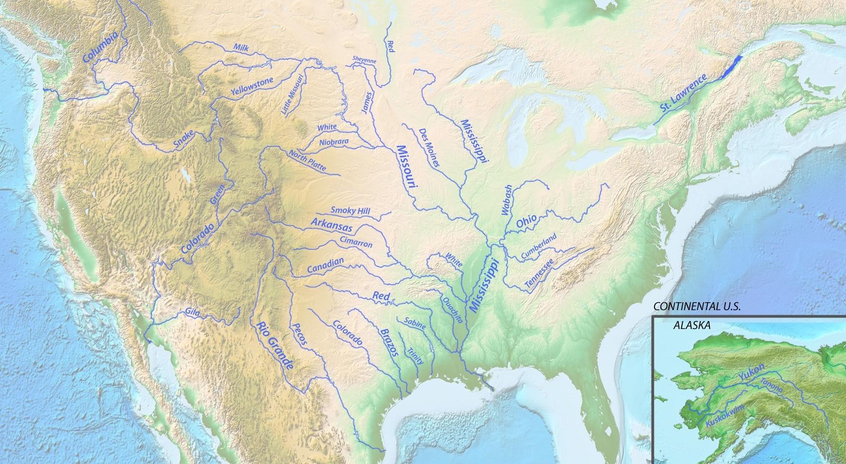 All Big And Major River Map of USA