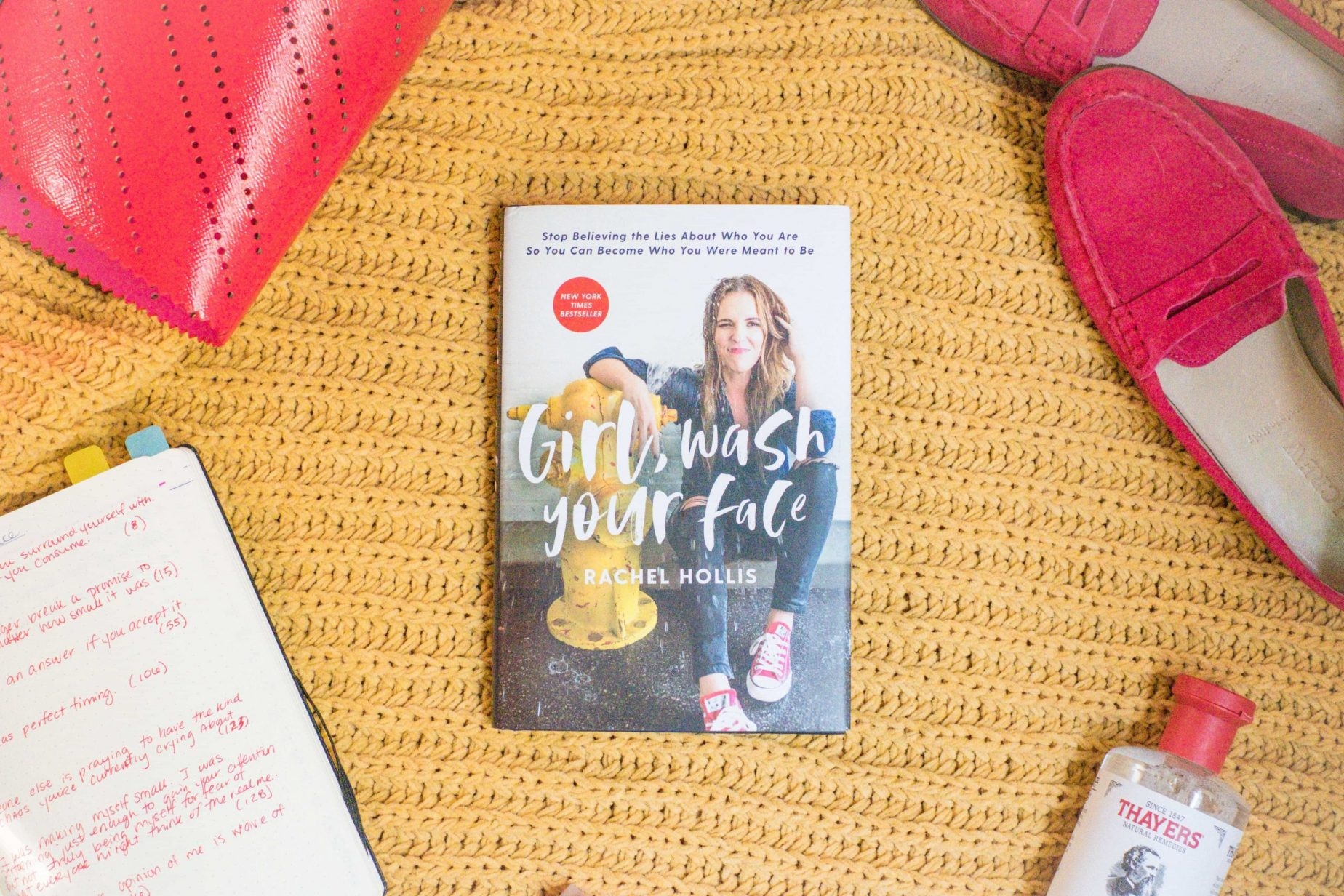 Girl, Wash Your Face- My Review Of What I Learned & Why I'm Obsessed #whatsavvysaid #girlwashyourface #bookreview #ontheblogtoday #rachelhollis #bookshelf #redbag #redshoes