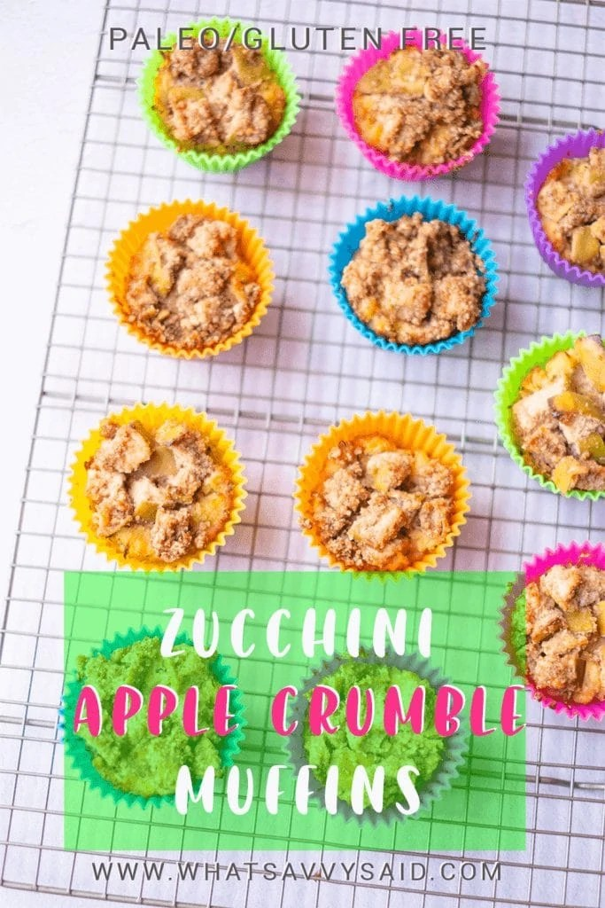 Zucchini Apple Crumble Muffins #whatsavvysaid #paleorecipe #glutenfreebreakfast #glutenfreemuffins #refinedsugarfree