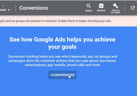 Google Ads - Click the +Conversions box