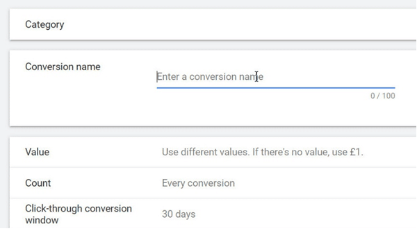 Google Ads - Give it a conversion name