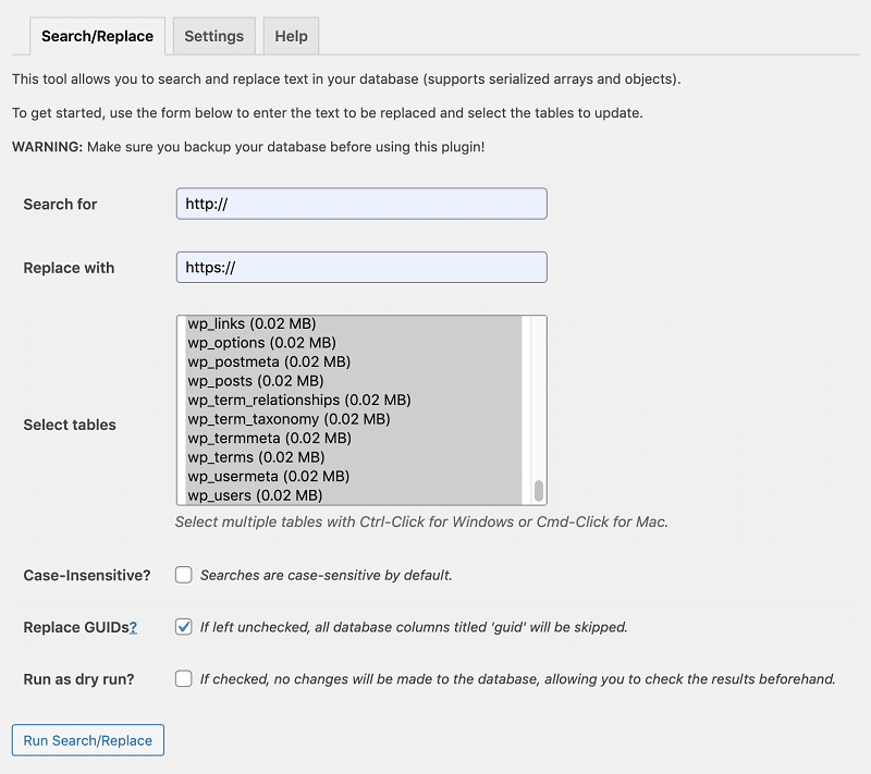 Better Search Replace Plugin Settings