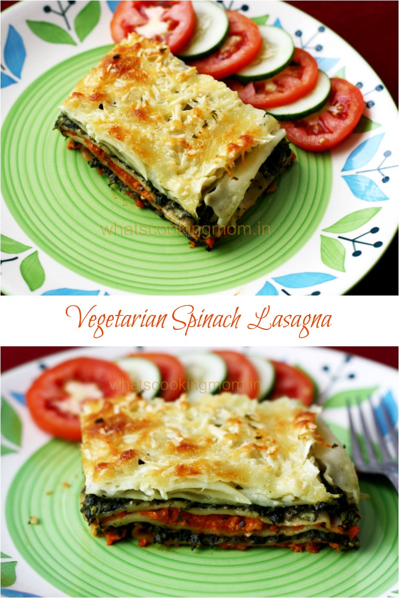 Vegetarian Spinach Lasagna with home made lasagna sheets   whatscookingmom.in