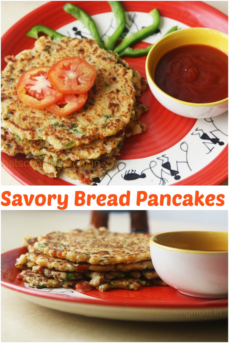 savory bread pancakes -Bread uttapam, vegeterian, breakfast, kids lunch box, snacks
