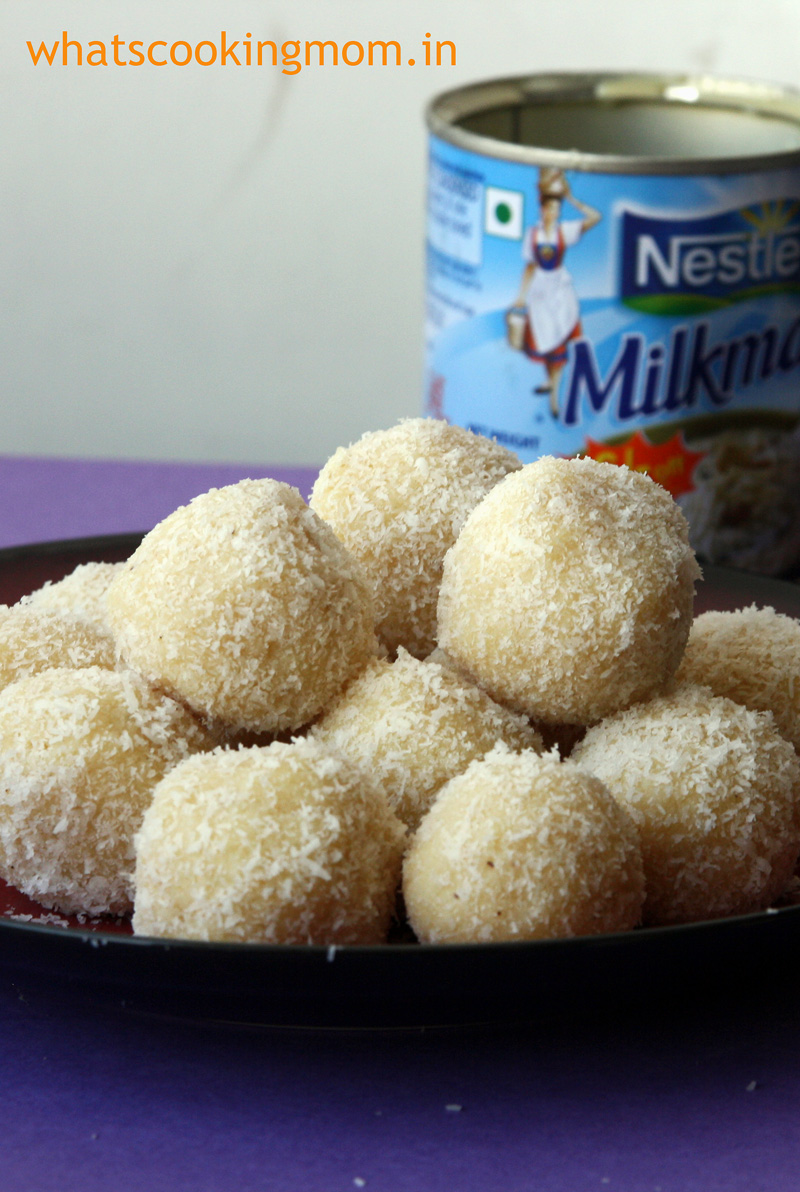 coconut ladoo made with milkmaid   whatscookingmom.in  