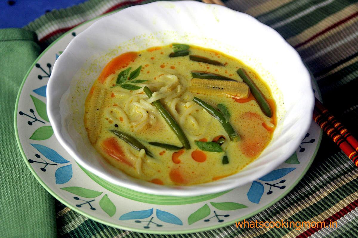 Veg Laksa with homemade noodles