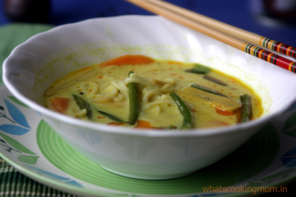 Veg Laksa with homemade noodles