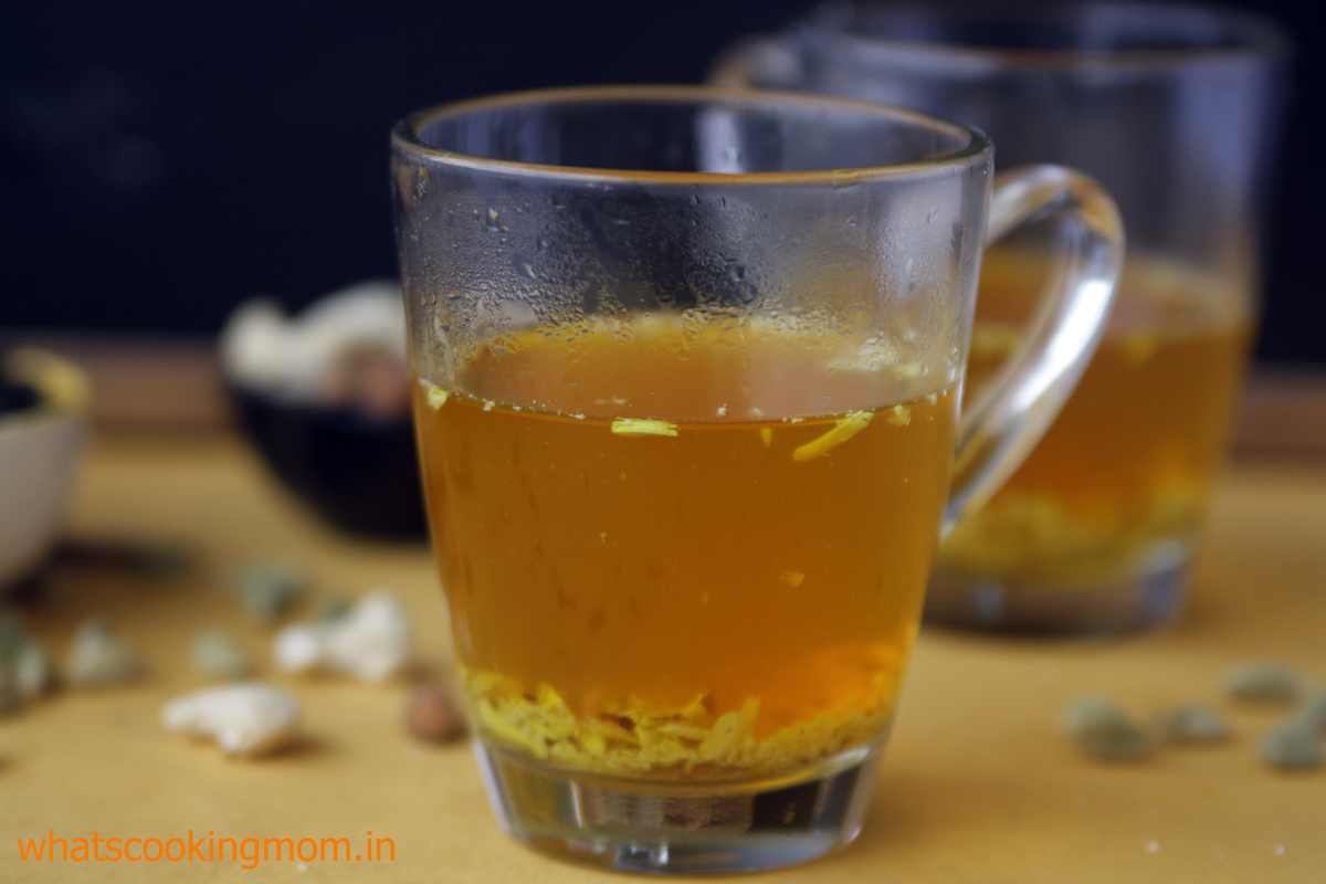 Kahwa - hot drink made with green tea and dry fruits | whatscookingmom.in