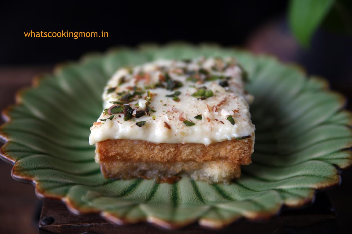 Aish el Saraya- mediterranean dessert. made with rusk, sugar syrup and custard pudding   whatscookingmom.in