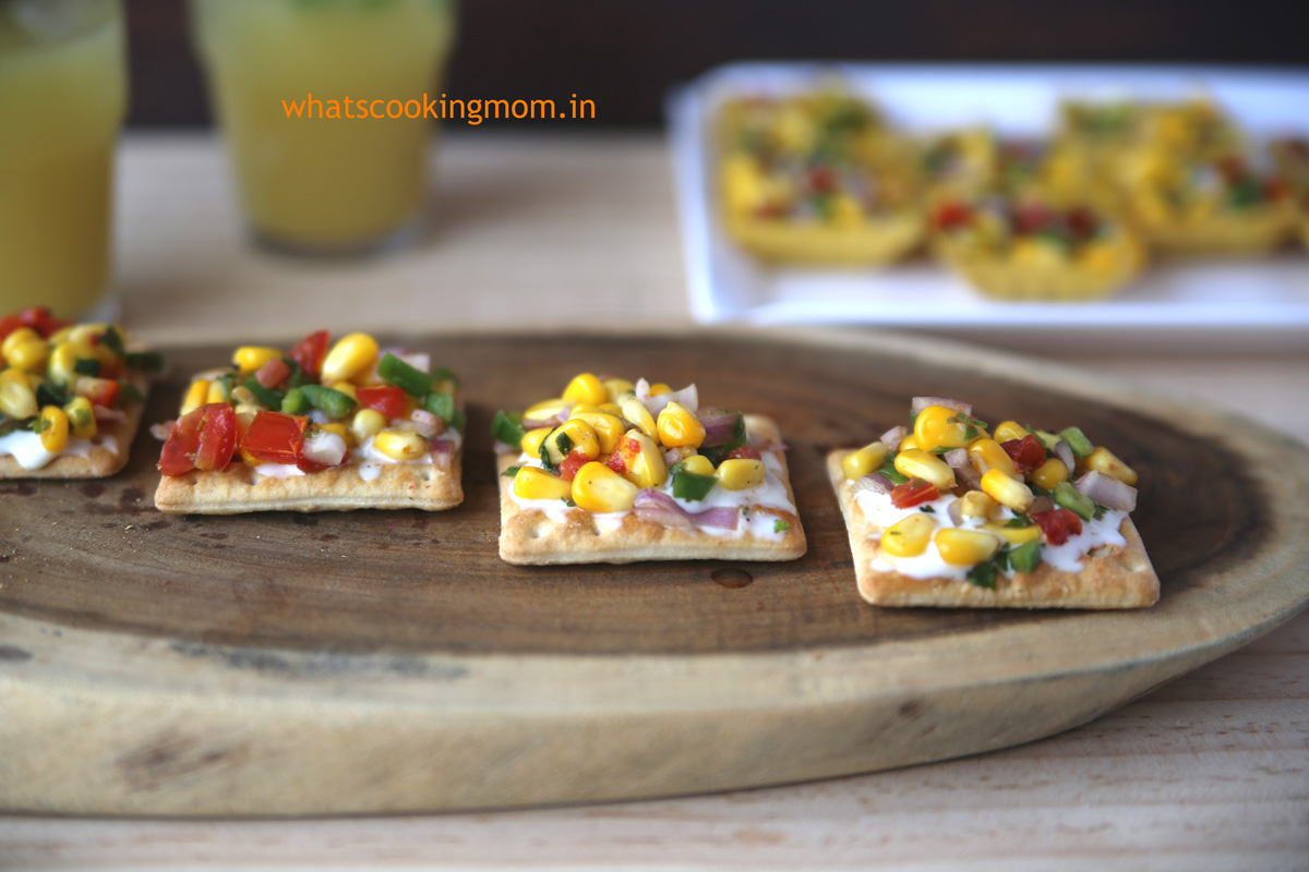 Corn Canapes - quick, easy, vegetarian, finger food, party food