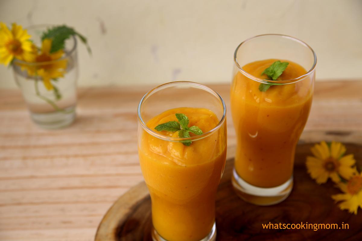 Mango Peach Smoothie   whatscookingmom.in