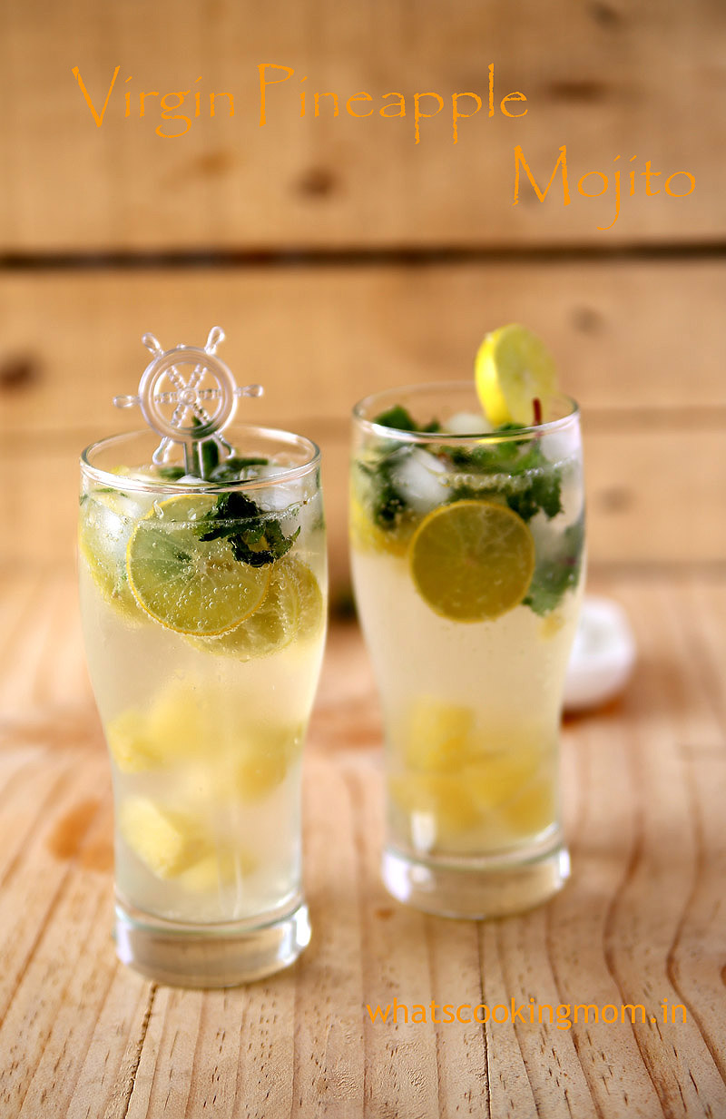 Virgin Pineapple Mojito - cool, sweet, tangy, refreshing mocktail