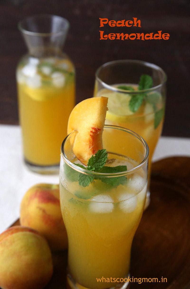 Peach lemonade - refreshing fruity healthy lemonade. #summers #drink #nonalcoholic #peach #lemonade #fruit