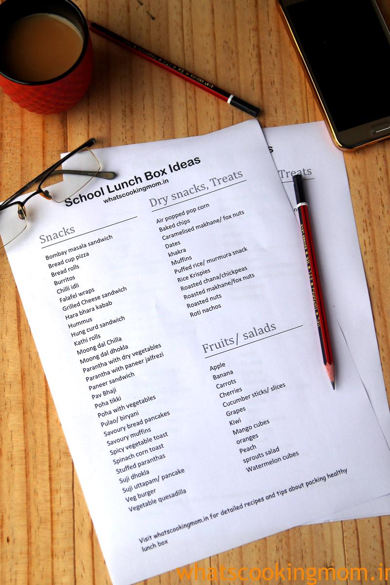 school lunch box ideas list #vegetarian #easy #tiffinideas