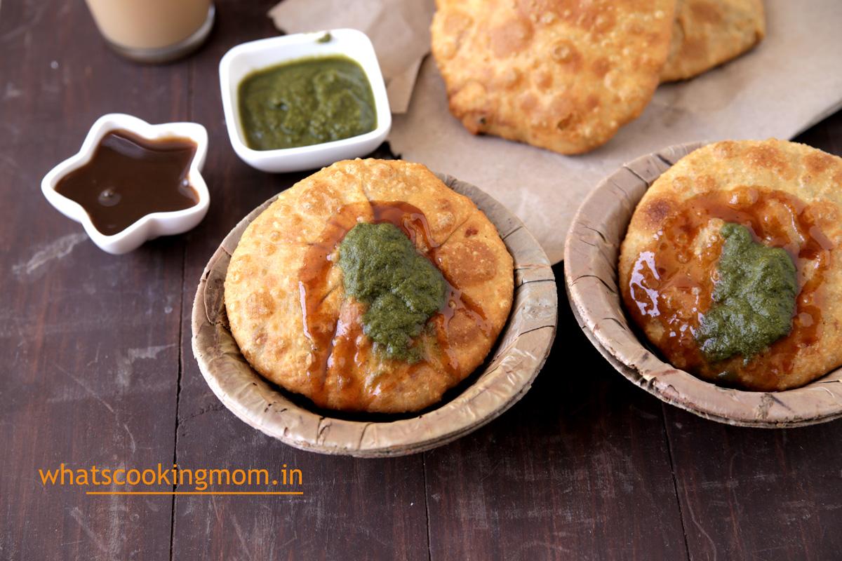 Aloo pyaz kachori - famous fried snack from rajasthan, breakfast, teatime snack, vegetarian