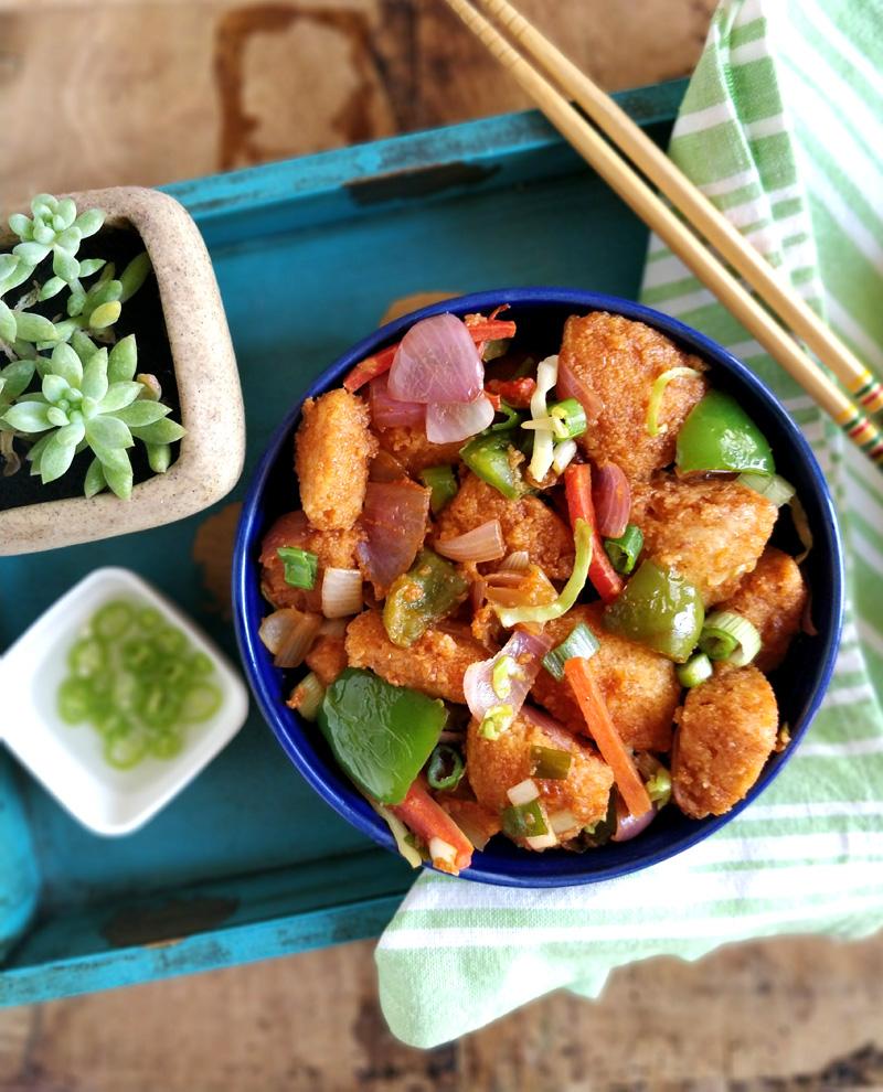 Chilli idli - chinese style idli made with leftover idlis, perfect for #breakfast, #snacks, #kidslunchbox