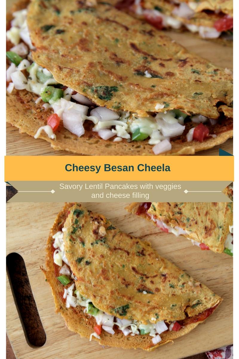 Besan cheela stuffed with cheese and vegetables #breakfast #vegetarian #teatimesnack #savory #lentilpancakes