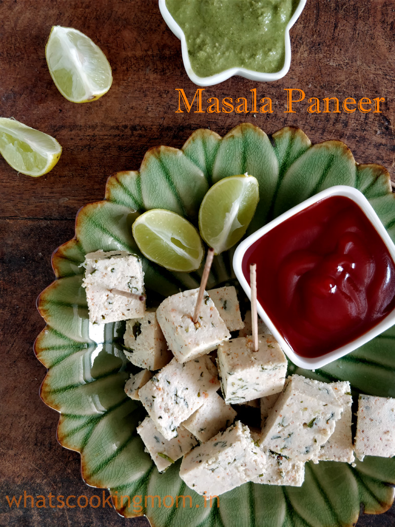 Homemade Masala Paneer - spiced cottage cheese, healthy vegetarian appetizer, nutritious, good for kids