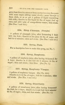 Manual for the Manufacture of Cordials, Liquors, Fancy Syrups, sample syrups