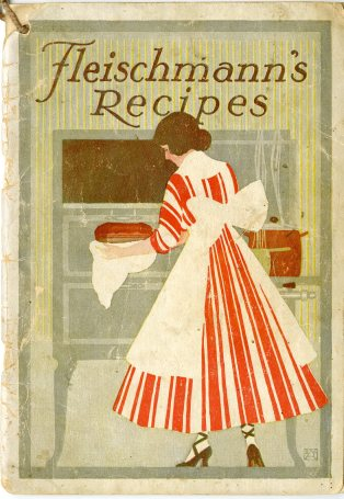 Woman in dress and apron making bread