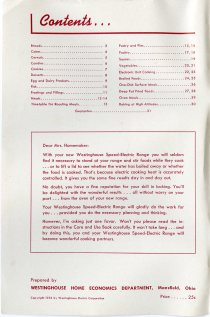 "table of contents and note to ""Dear Mrs. Homemaker"" about using an electric stove"