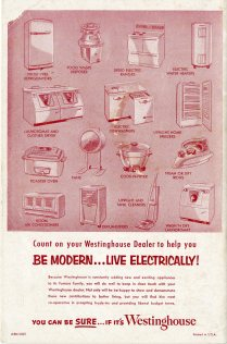 images of electric appliances available from Westinghouse in 1956