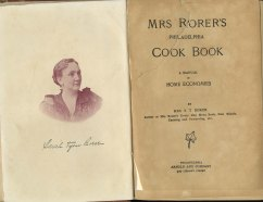 image of Sarah Rorer and title page for Mrs. Rorer's Philadelphia Cook Book: A Manual of Home Economics, 1886