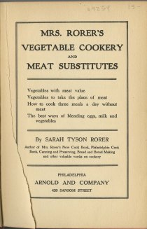 title page of Mrs. Rorer's Vegetable Cookery and Meat Substitutes, 1909