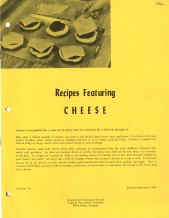 Recipes Featuring Cheese, 1966