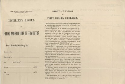 Bureau of Internal Revenue, Form 529, Distiller's Record of Filling and Refilling of Fermenters (Page 1)