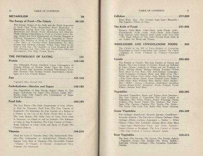 Sample pages from the table of contents