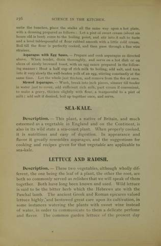 Sample page from the section on vegetables.