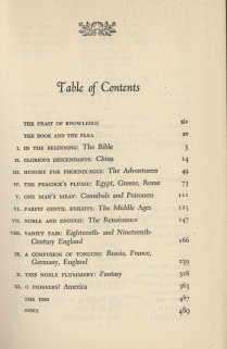 Here Let Us Feast: A Book of Banquets, Table of contents