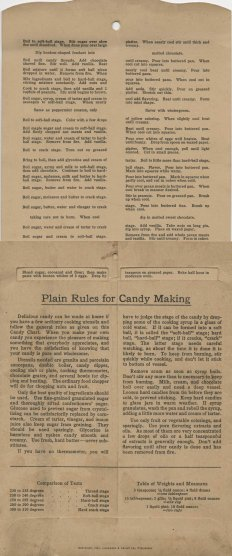 Plain Rules for Candy Making, 1922. General instructions and directions for Cocoanut Macaroons (other recipes above).