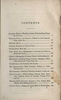 Table of contents from The House Book (1841)