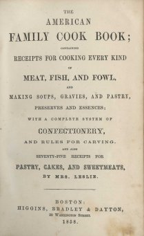 Title page from The American Family Cook Book (1858)