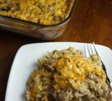 Cheesy rice and veggie bake
