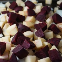 Chopped beets, onions and potatoes
