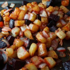 Roasted beets, onions and potatoes