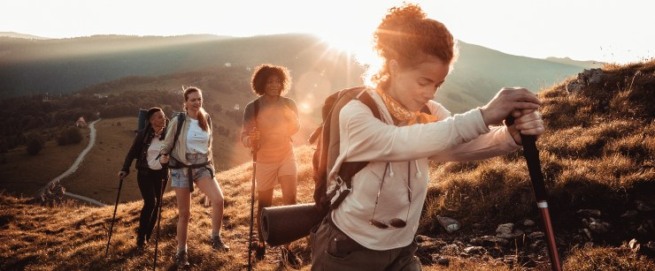 women hiking together