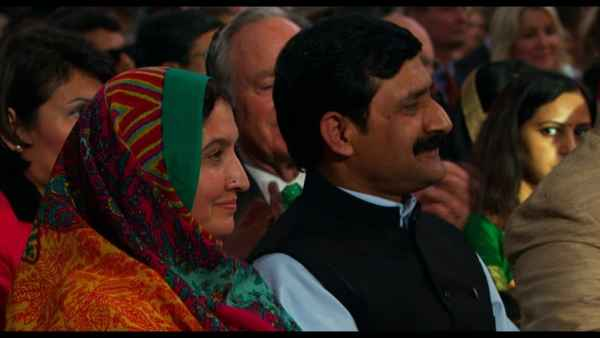 HE NAMED ME MALALA: Toor Pekai Yousafzai and Ziauddin Yousafzai at the Nobel Peace Prize Ceremony, Oslo Norway. Dec 10, 2014. Photo courtesy of Fox Searchlight Pictures.© 2015 Twentieth Century Fox Film Corporation All Rights Reserved