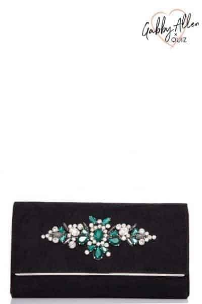 Gabby's Black Faux Suede Jewel Clutch Bag