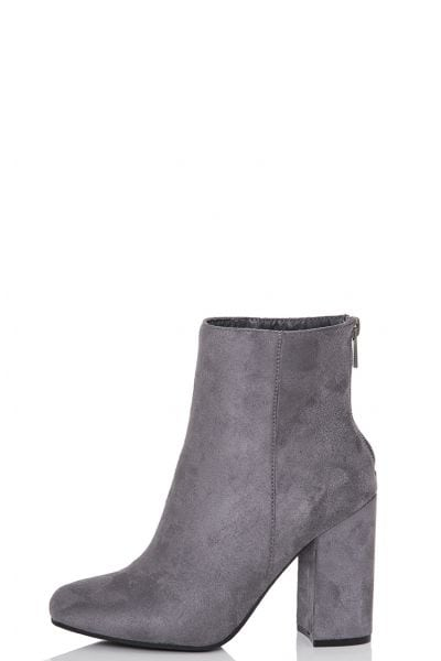 Grey Faux Suede Zip Ankle Boots