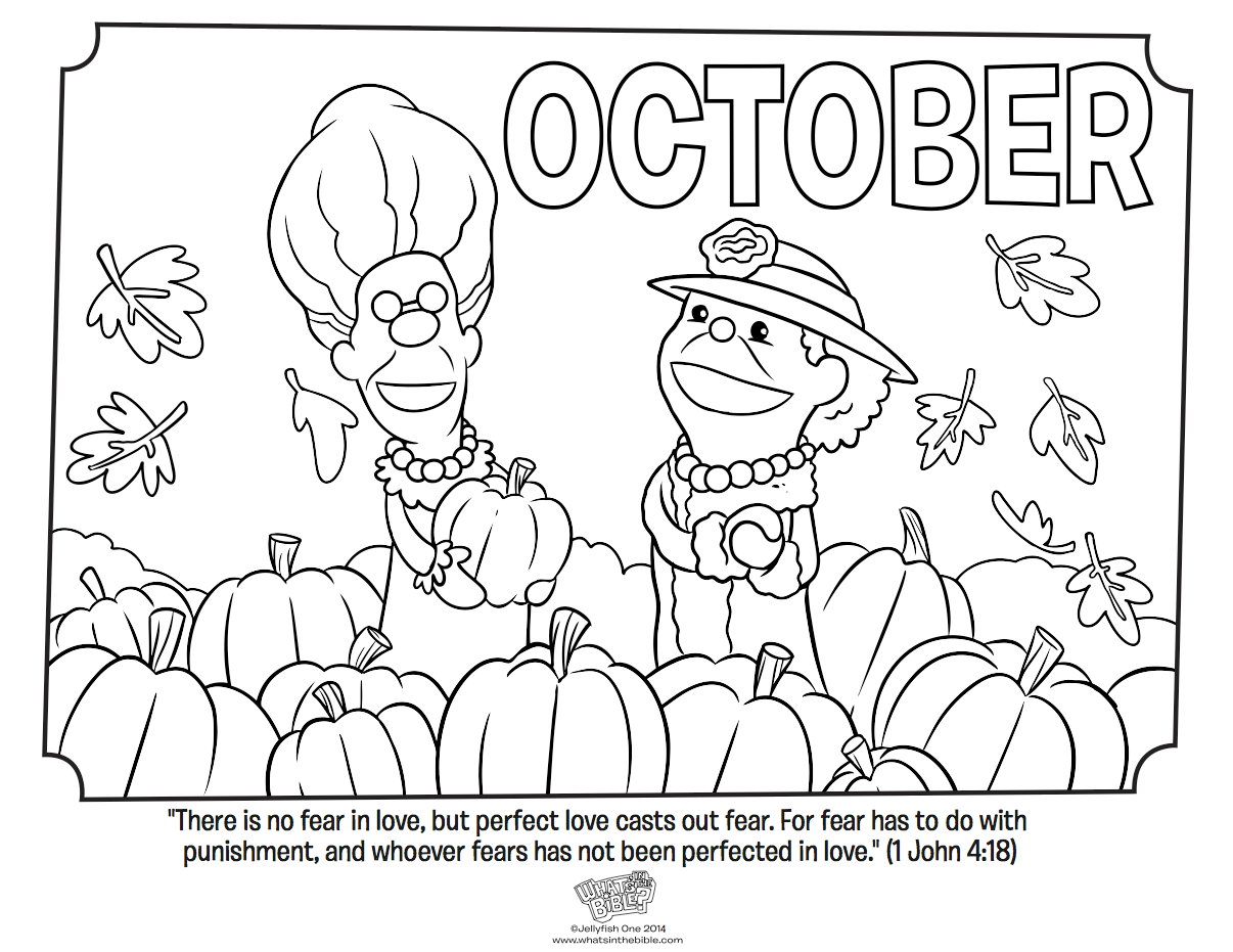 October Coloring Page 1 John 4 18