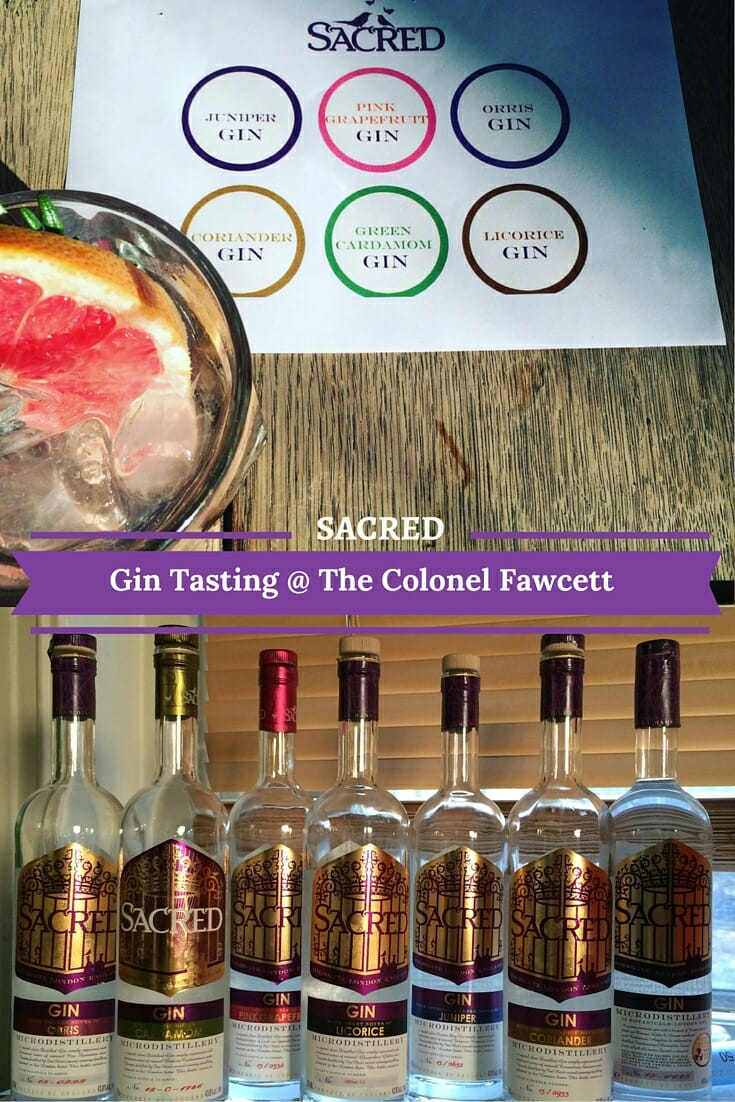 Sacred Gin tasting at the Colonel Fawcett