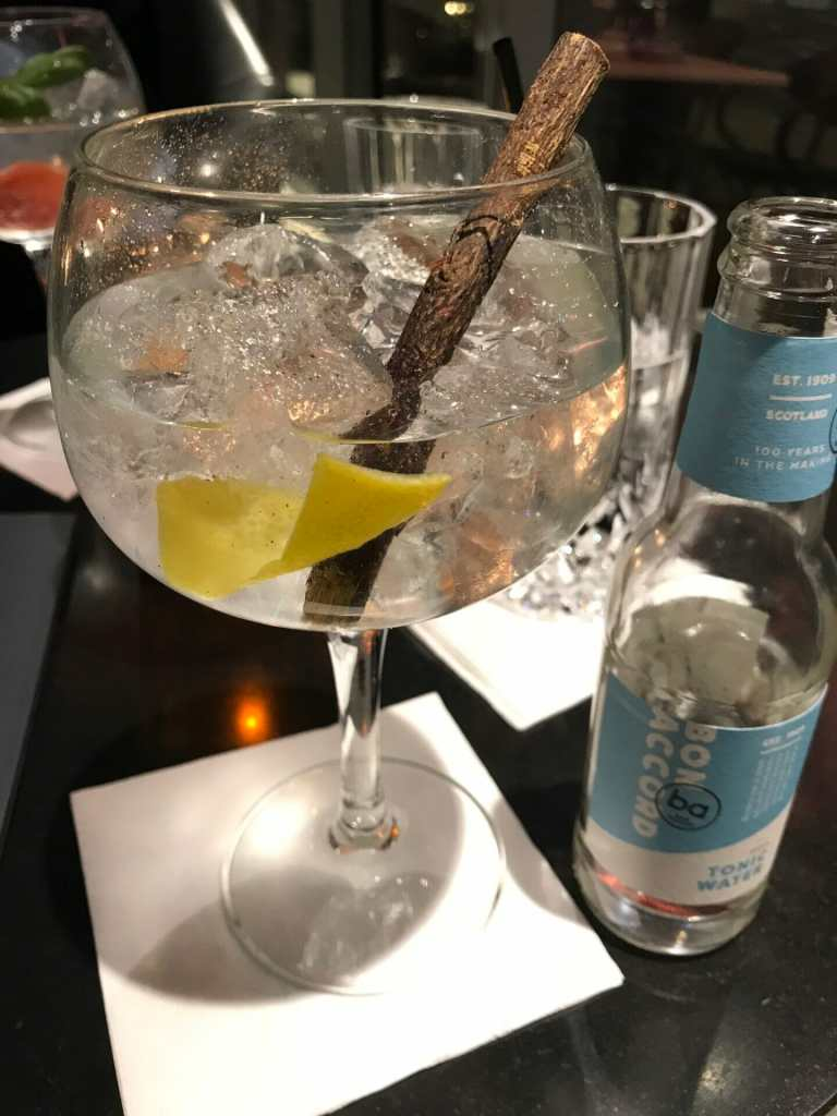 Bon Accord tonic and gin in a copa glass