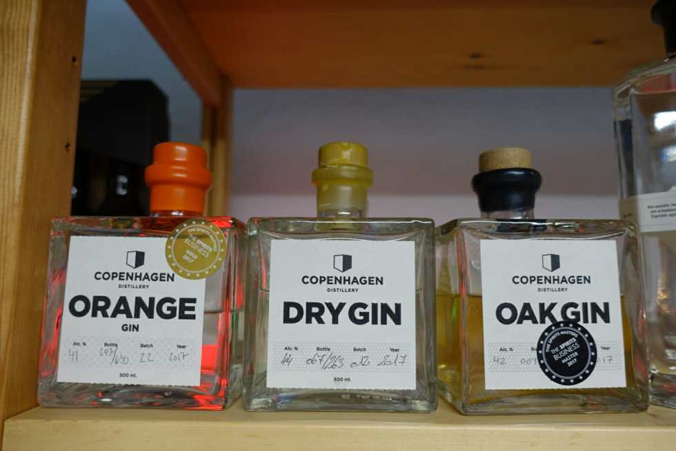 The three types of gin they make at Copenhagen Distillery