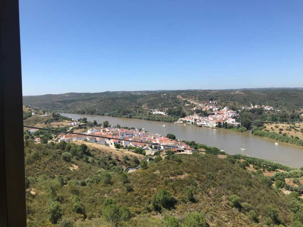 View of the towns and the river between them