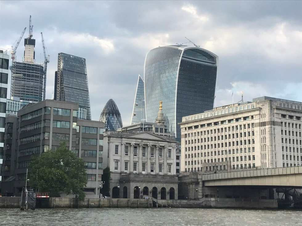 View of the City of London with the Gerkin and Walkie Talkie buildings