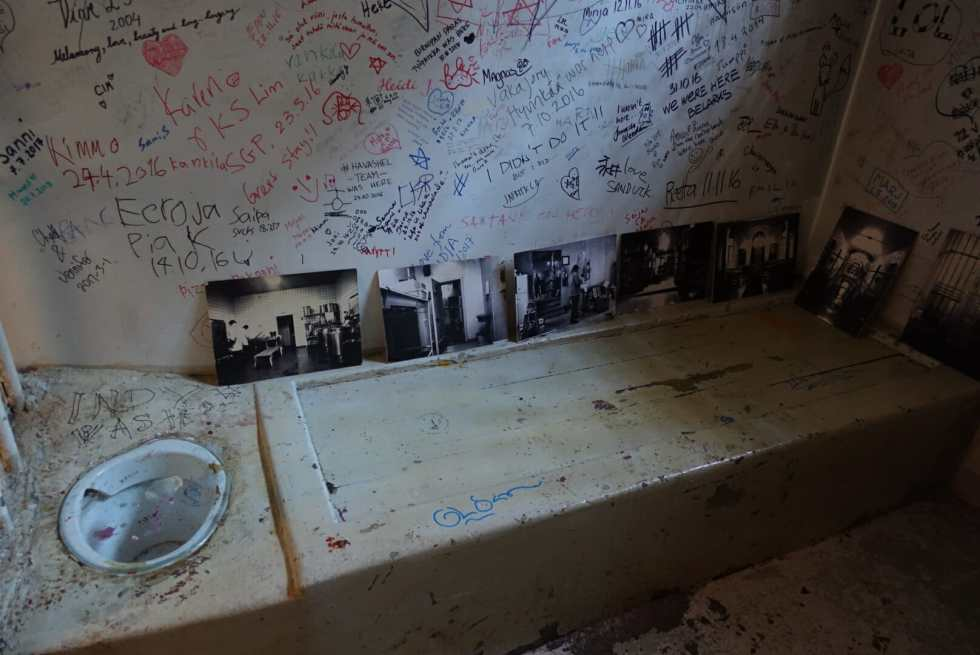 The 'preserved' solitary confinement cell complete with toilet bowl